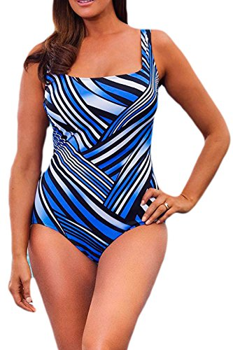 4abfdc56385 Zando Women One Piece Slimming Tummy Control Swimsuit Plus Size Pro  Training Athletic Bathing Suit Print Sport Swimwear Strip Deep Blue 3XL (US  16-18)