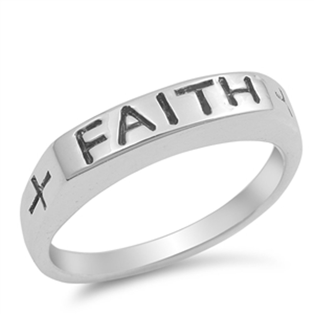 Faith Word Script Stackable Christian Ring .925 Sterling Silver Band Size 7