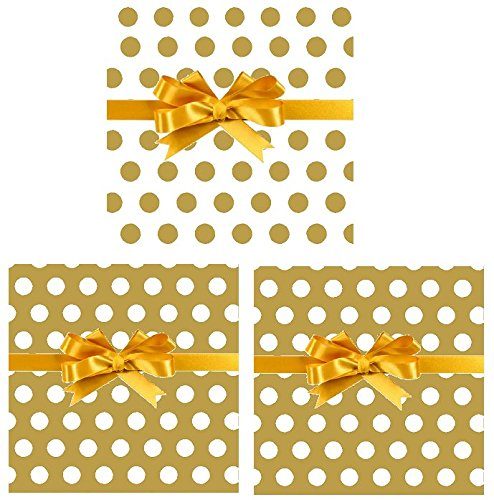 - 3pack Christmas Holiday Gift Wrap Wrapping Paper Collection (Double Sided Gold & White Polka Dot)