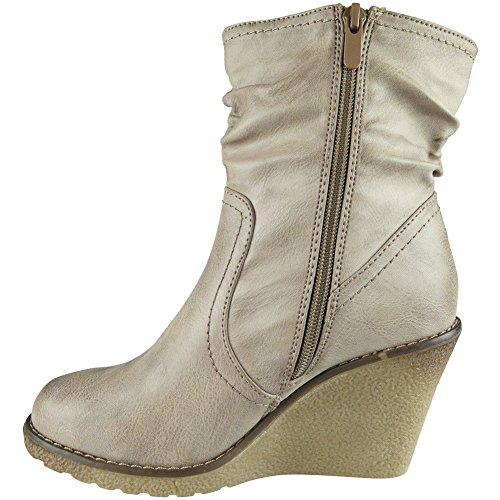 Loud Look Ladies Fleece Lined Mid Heel Wedge Work Office Ankle Boots Shoes Size 3-8 Khaki Eh3ATaS