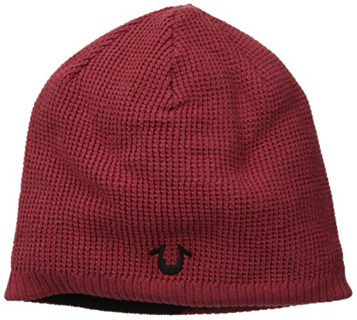(True Religion Men's Reversible Waffle-Knit Beanie, Cherry, One)