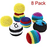 Blulu Set of 8 Pieces Hacky Ball Sacks Multicolored Knitted kick balls for Children and Beginners