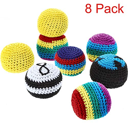 Blulu Set of 8 Pieces Hacky Ball Sacks Multicolored Knitted Kick Balls for Children and Beginners (Best Hacky Sack For Beginners)