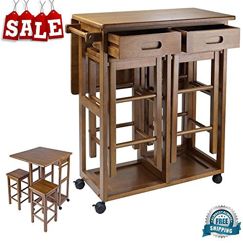 Counter Height Folding Table with Stools & Drawers Wooden Teak Finish Bar Cart Flip-up Counter Portable Food Prep Serving Bar Kitchen Breakfast Mobile Island Home Furniture & eBook by BADA shop (Breakfast Bar Stools Wooden)
