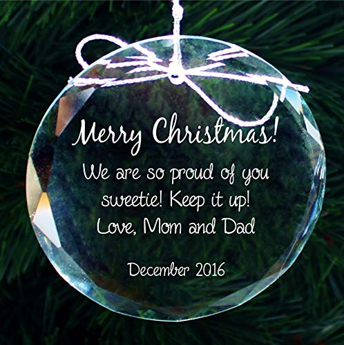 Personalized with ANY text, Engraved Crystal Christmas Ornament, Custom Engraved Handmade Holiday Ornaments - COR014