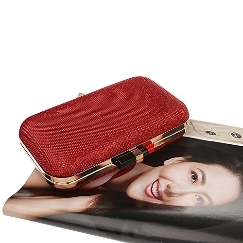 Genda 2Archer Bolso del Cluth del Partido del Corchete del Lápiz Labial de las Mujeres Boda Deslumbrante, Bolso de Hombro de la Tarde (20 cm*4cm*12 cm) Rojo