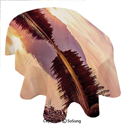 Landscape Oval Polyester Tablecloth,Grand Teton Mountain Range at Sunset Jackson Lake Calm National Park USA Decorative,Dining Room Kitchen Oval Table Cover, 54 x 72 inches,Peach Light Yellow