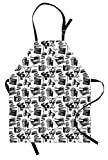 Lunarable Movie Apron, Vintage Artful Film Cinema Icons Motion Camera Action Record Graphic Style Print, Unisex Kitchen Bib Apron with Adjustable Neck for Cooking Baking Gardening, Black White
