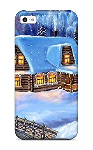 High Quality Shock Absorbing Case For Iphone 5c-home Christmas Vector Design Fairy Tale Winter House Forest Cabin Xmas Santa Claus Holiday Christmas wangjiang maoyi