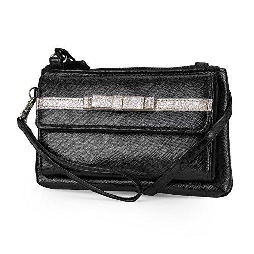 Mundi Chelsea Double Bow Womens RFID Crossbody Wallet Bag (Black)