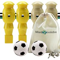 Billiard Evolution 4 Yellow and Tan Foosball Men and 2 Soccer Balls with Free Screws and Nuts