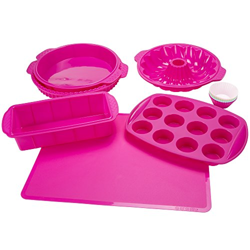 Silicone Bakeware Set, 18-Piece Set including Cupcake Molds, Muffin Pan, Bread Pan, Cookie Sheet, Bundt Pan, Baking Supplies by Classic -