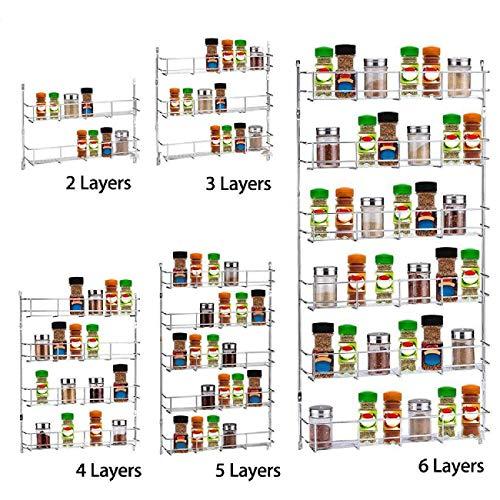 - WICHEMI 5 Tier Wall Mounted Spice Rack Holder Kitchen Organizer Storage Shelf Cabinet Organizer