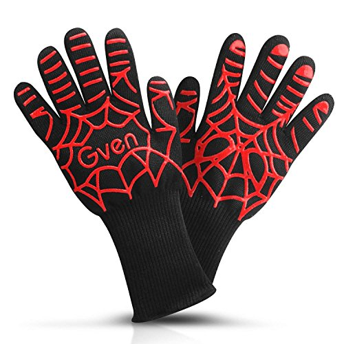 cdsnxore BBQ Oven Cooking Gloves, 932°F Extreme Heat Resistant Grilling Gloves Non-Slip Kitchen Mitts BBQ Fireplace Accessories for Men Women, 1 Pair,13'' Extra Long by cdsnxore