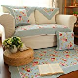 FADFAY Shabby Patchwork Carpet Floral Floor Mat Blue Rose Cotton Rug Rustic Area Rugs Cute Area Rugs Rugs and Vintage Carpets for Home Living Room 1pc