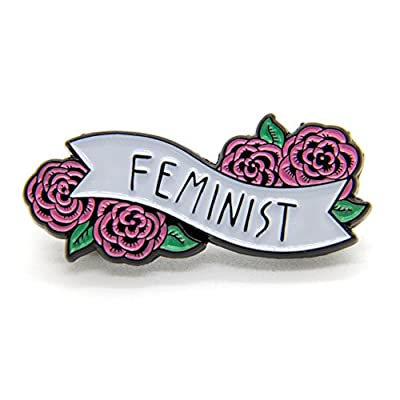 Ectogasm Feminist Enamel Pin Banner with Flowers Cute Quote Accessory for Women