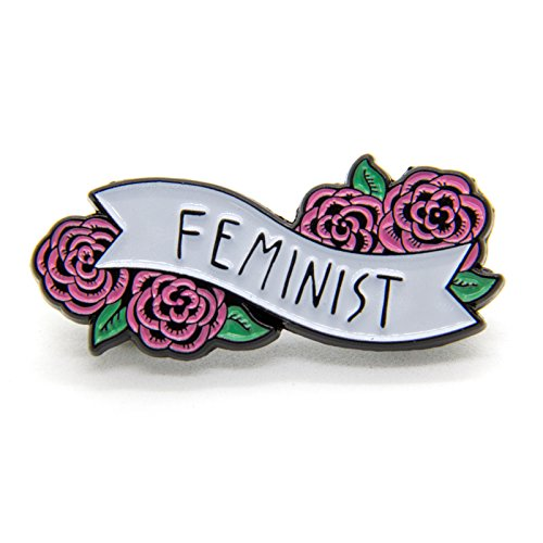 White Enamel Flower Pin (Ectogasm Feminist Enamel Pin Banner with Flowers - Cute Quote Accessory for Women)