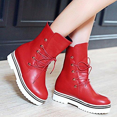 Mee Shoes Damen hidden heels halbschaft mit Schnürsenkel runde Stiefel Rot