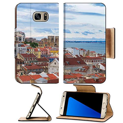 Lisbon Leather - Luxlady Premium Samsung Galaxy S7 EDGE Flip Pu Leather Wallet Case IMAGE ID: 34426739 view of Lisbon over old town quarters with Se cathedral Portugal