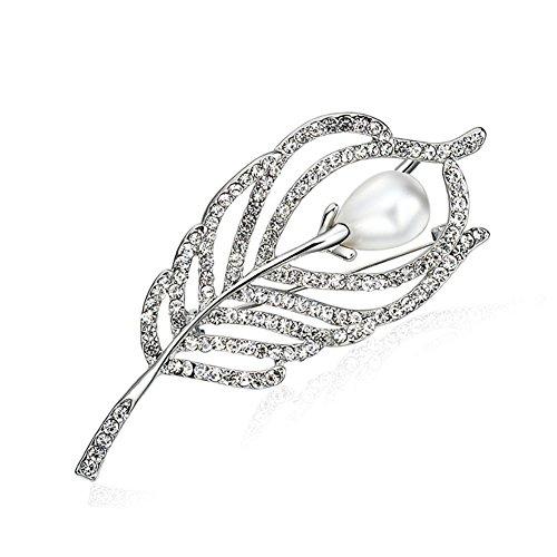 Afco Leaf Spiral Fashion Brooch Pin Women Shiny Zircon Breastpin Jewelry Xmas Gift Dress Accessory -