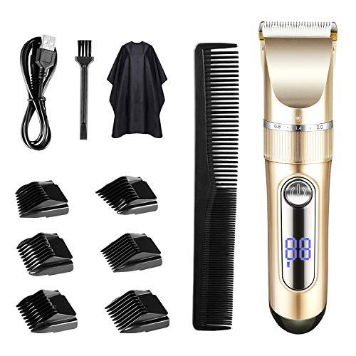 🥇 TTLIFE Cortar el pelo Pantalla LED recargable inalámbrica para cortapelos con 6 peines guía (dos modos son adecuados para adultos y niños)