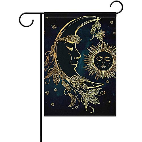 JAYESH Crescent Moon and Sleeping Sun Welcome Winter Holiday Yard Outdoor House Flag Banner Party Home Christmas Decorations,12x18 inch