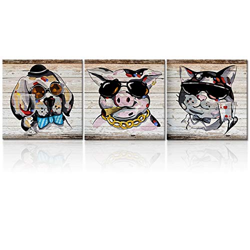Poker Play Dog (Welmeco Vintage Funny Animals Canvas Wall Art Lovely Pet Smoking Pig Drinking Dog Poker Cat Picture Prints Wall Decoration for Bar Play Dining Room Gift Ready to Hang (04 Have Fun, 16
