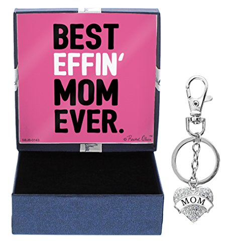 Mothers Day Gifts for Mom Best Effin Mom Ever Silver-Tone Crystal Adorned Heart Shaped Keychain and Gift Box Birthday Gifts for Mom Keychain Mom Jewelry