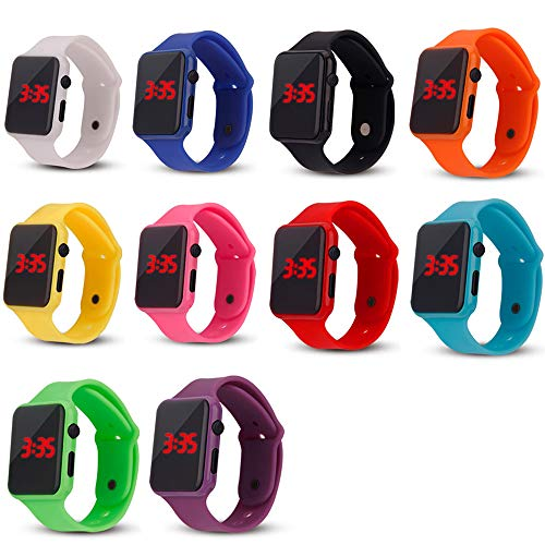 (Weicam 10 Pack Unisex Children's Kids LED Watch Silicone Student Electronic Sports Watch Bracelet Wholesale)