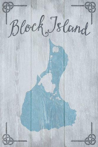 Block Island, Rhode Island - Distressed Sign (12x18 Art Print, Wall Decor Travel Poster) Rhode Island Block Island