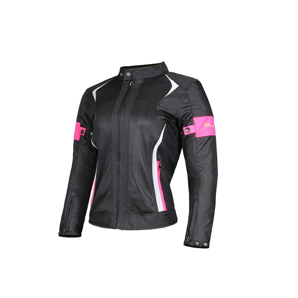 ETbotu Women Motorcycle Jacket & Pants Suit Breathable Mesh Touring Motorbike Clothing Set Pink XXL