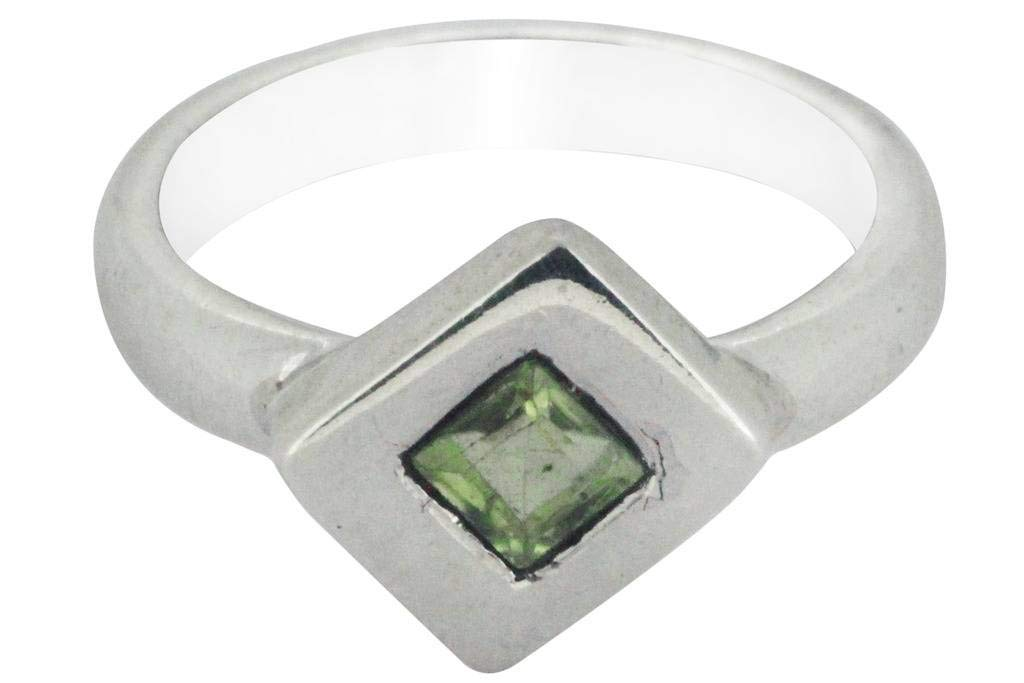 M/s Gajraj 92.5 Sterling Silver Square Peridot Stone Ring, US-11.5