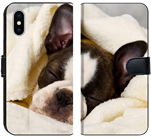 (Liili Premium iPhone X Flip Micro Fabric Wallet Case Boston Terrier Sleeping in White Towels Studio Shoot Photo 20130004)