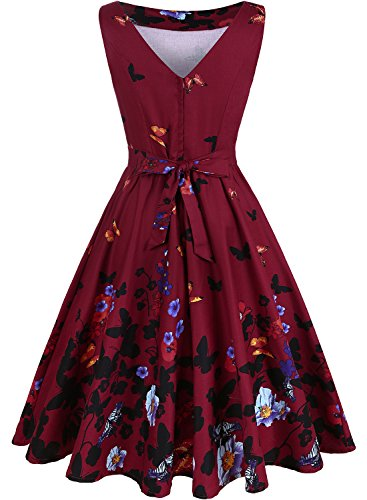 mujer Butterfly Red Noche para Wine OWIN Vestido xYwq7UtRRv