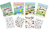 iMagine-Fun With Stickers Sticker Scene Picture Books - Four (4) Electrostatic Re-Usable Stickers, Scenery Game-board to Create Fun Scenes Over & Over Again - Ocean Life - Dogs - Dinosaurs - Animals