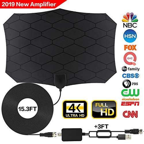 Tv Antenna,[2019 Latest] Amplified HD Digital TV Antenna Long 120 Miles Range Support 4K 1080p & All Older TV's Indoor Powerful HDTV Amplifier Signal Booster - Coax Cable/USB Power Adapter]()