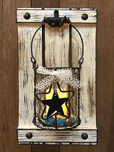 Cottage Candle Holder - Jar Wall Decor CANDLE HOLDER Metal Chicken Wire Jar Shutter with Buttons Country Distressed Rustic White - LED Battery Operated 9X16