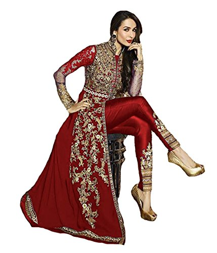 New Indian/Pakistani Designer Georgette Party Wear Anarkali Suit VF-3 (Red, S-38)