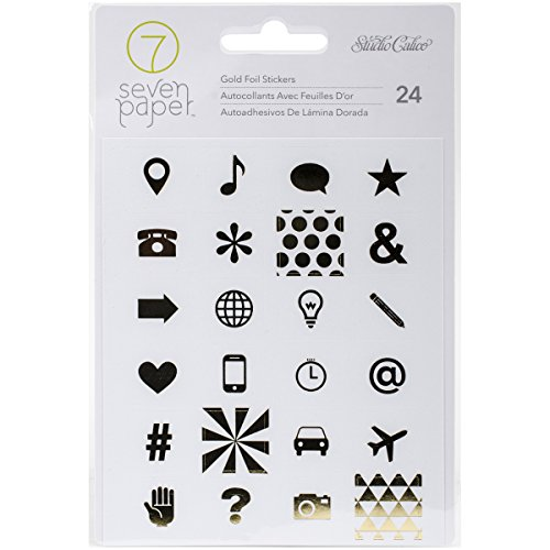 American Crafts Seven Paper Amelia Foil Stickers, 4 x 5