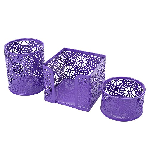 Crystallove Metal Mesh Office Supplies Desk Organizer, Purple-Style 2, Set of 3 by Crystallove (Image #1)