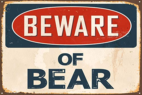 (Sticker Tiger Beware of Bear Metal Sign Vintage Look 8x12 TIN Aluminum Retro)