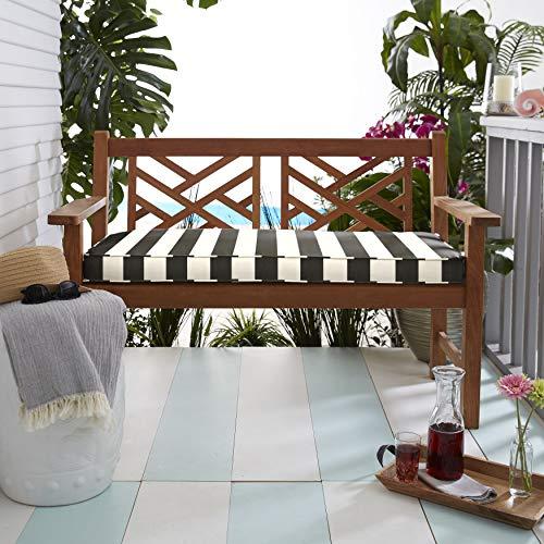 Mozaic AMZCS116802 Sunbrella Bench Cushion, - And Black White Cushion Bench