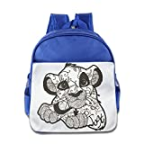 MYKKI Line Drawing Tiger Children Custom Backpack RoyalBlue