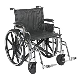 Drive Medical Sentra Extra Heavy Duty Wheelchair with Various Arm Styles and Front Rigging Options, Black Upholstery and Chrome Frame, Bariatric 22\
