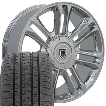 22 x 9 ruedas Llantas y neumáticos para camiones de GM - Cadillac Escalade estilo - cromado - Set: Amazon.es: Coche y moto