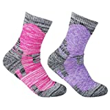 YUEDGE Women's 2 Pack Multi Performance Outdoor Sports Hiking Trekking Running Wicking Cushion Cotton Crew Socks(Assortment Purple Red)