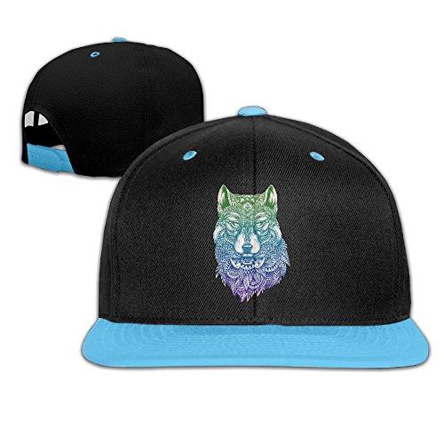 [Kids Wolf Head Falt Hat Hip Hop Baseball Cap RoyalBlue] (Wolf Head Hat)