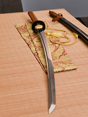 - Handmade Katana Damascus Folded Steel Katana Japanese Samurai Sword Groove Full Tang Sharp Sword Home Protection Sword