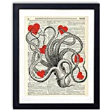 Octopus With Red Hearts Upcycled Vintage Dictionary Art Print 8x10