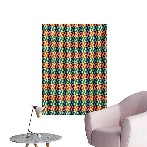 Anzhutwelve Geometric Wall Sticker Decals Checkered Grid Style Squares Pattern with Oval Shapes Vintage Design InspirationsMulticolor W24 xL32 Custom Poster